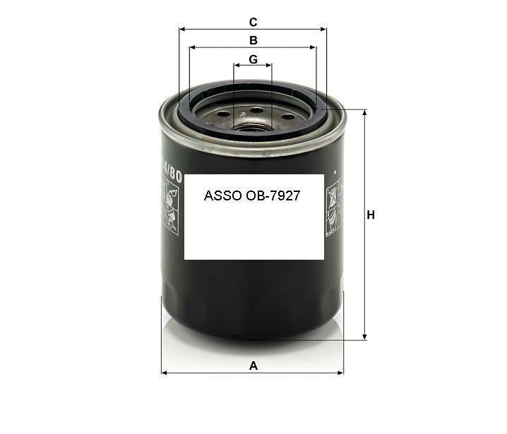 ASSO OB-7927 (W817/80 ; W814/80) Eļļas filtrs
